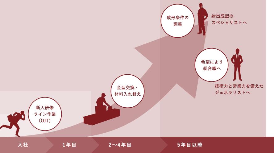 山田プラスチック工業のキャリアアップイメージ